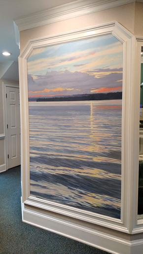 mural by Claude Buckley- Wateree Lake, 54 x 108 inches, Acrylic on canvas, Joseph Dental Associates Lobby, Camden, SC