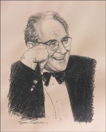 Drawing by Claude Buckley- NYT Art Critic Hilton Kramer, 18 x 24 in charcoal on toned paper, 2006
