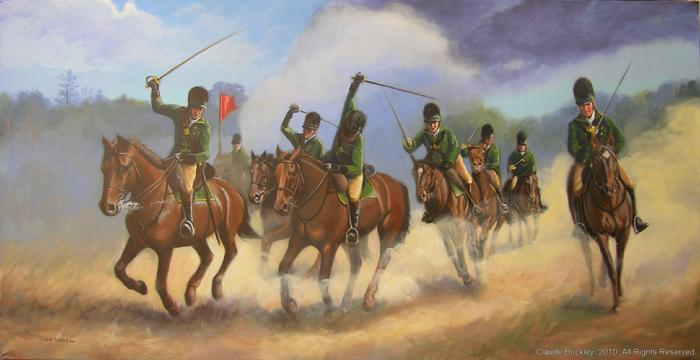 Mural painting by Claude Buckley-  Charge of the British Legion Charge during the Battle of Camden, 10 x 45 feet, acrylic on polyester canvas, Rotunda Robert Mills Courthouse, Camden, SC