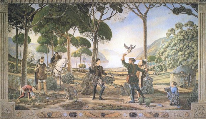 Claude Buckley- Mural de Cetreria finca El Santo, 16 x 27 feet, acrylic tempera on plaster wall