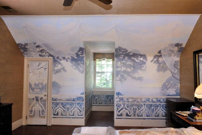 Mural by Claude Buckley- Seccessionville Manor Bedroom acrylic on fiberglass over plaster wall