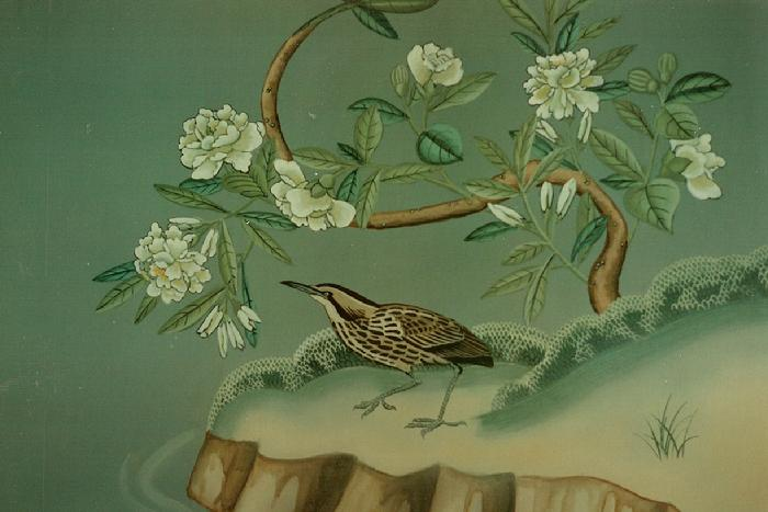 mural painting by Claude Buckley- Milliken and Company Guest House dinning Room Wallpaper (Detail)