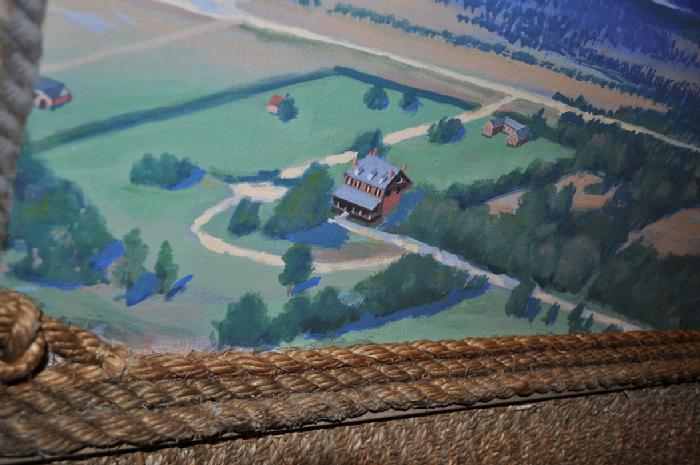 mural by Claude Buckley- Ballooning over Mulberry Plantation, elevator Mulberry Plantation, Camden, SC