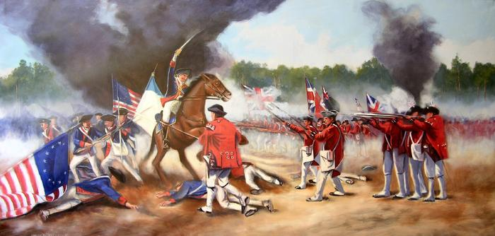 Mural painting by Claude Buckley- Baron DeKalb's Last Charge during the Battle of Camden, 10 x 45 feet, acrylic on polyester canvas, Rotunda Robert Mills Courthouse, Camden, SC