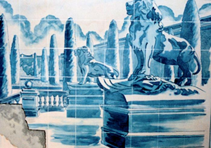 mural by Claude Buckley- Patio Portugues, 2 x 52 meters, polyurathane on steel, penthouse patio, palacete c/ Alfonso XII, Madrid