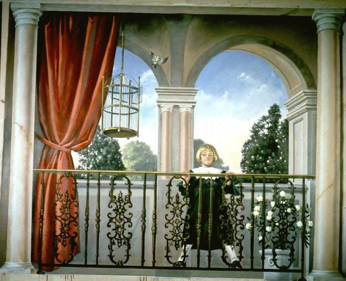 mural portrait of a young girl on a balcony by Claude Buckley- Girl with an Empty Bird Cage, 96 x 240 inches, acrylic on canvas, lobby with marbalized columns, private collection Sumter, SC