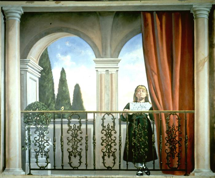 mural portrait by Claude Buckley- Girl with an Empty Bird Cage, 96 x 240 inches, acrylic on canvas, lobby with marbalized columns, private collection Sumter, SC