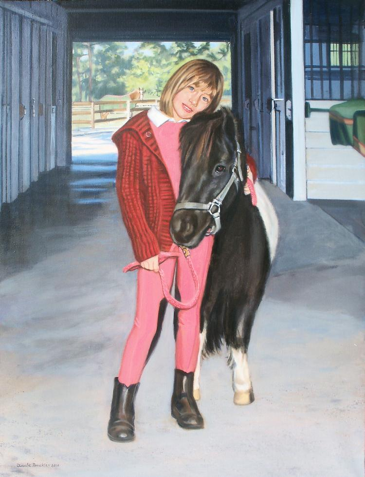 Oil equestrian portrait by Claude Buckley- Best Friends, 50 x 40 oil on canvas, private collection