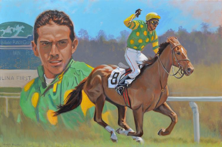 Oil painting of a jokey and his race horse by Claude Buckley- Animo Beto, 40 x 50 inches oil on canvas, private collection