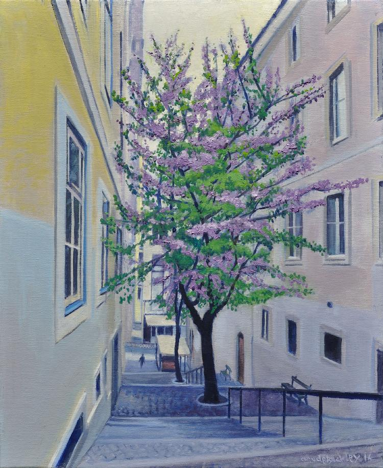 Oil landscape painting by Claude Buckley of a flowering tree in Lisbon- Arbol del Amor, Lisboa 14.96 x 18.11 in (38 x 46 cm) oil on canvas 2016