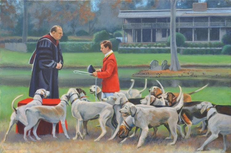 Claude Buckley- Blessing the Hounds oil on canvas. Commissioned by the Late Max Wood, private collection