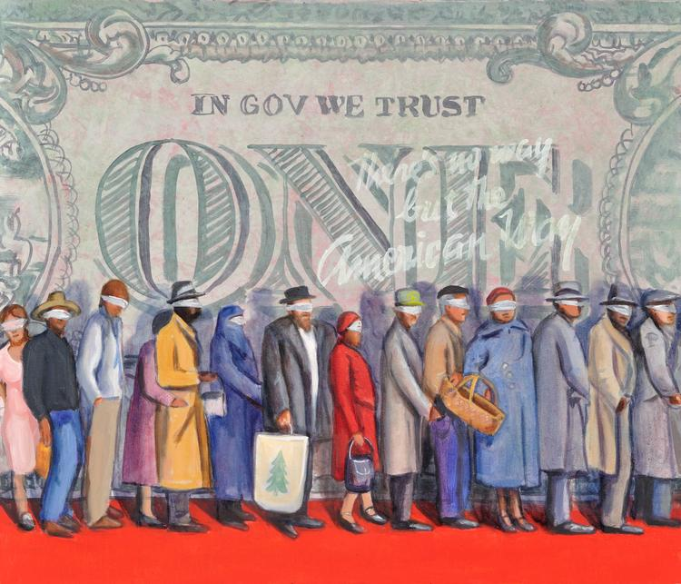 acrylic Pop Art currency painting by Claude Buckley- In Gov. We Trust, 30 x 40 in acrylic on canvas