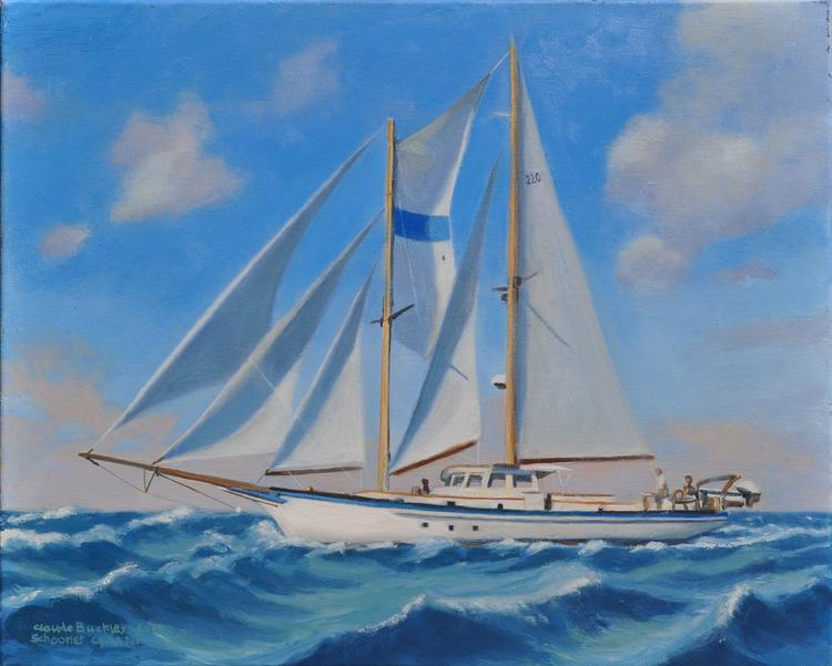 oil nautical painting of the schooner Cyrano by Claude Buckley- Schooner Cyrano, 16 x 20 in oil on canvas The artist crossed the Atlantic on this boat when he was 16 years old.