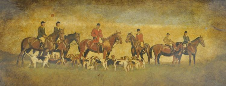 Claude Buckley- Blessing the Hounds oil on canvas. Commissioned by the Late Martha Williams Daniels, private collection