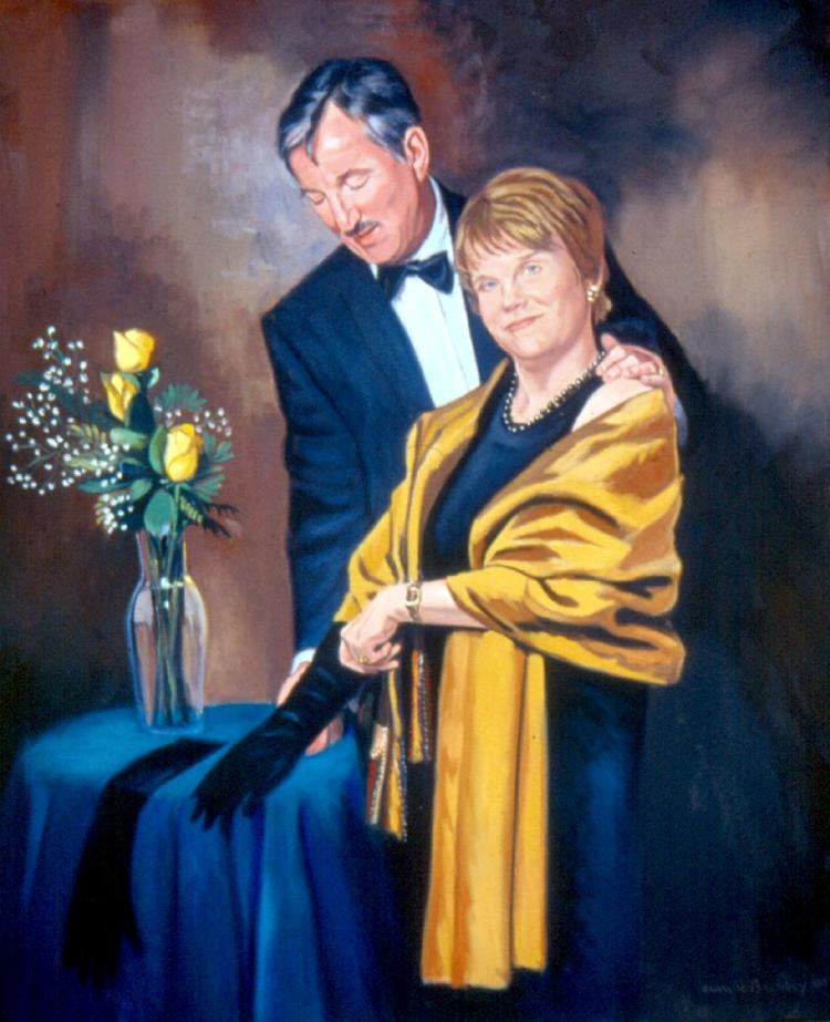 oil portrait by Claude Buckley- Date Night, 40 x 50 in oil on canvas