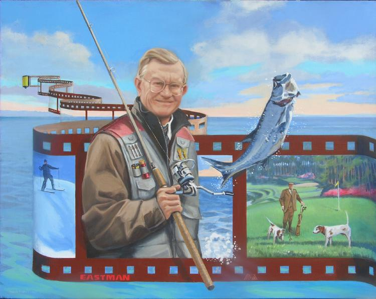 "corporate oil portrait by Claude Buckley- ""Gone Fishing"", Mr. Ernest Deavenport, Former CEO Eastman,painted for Roger Milliken 40"" x 50' oil on canvas,2007"