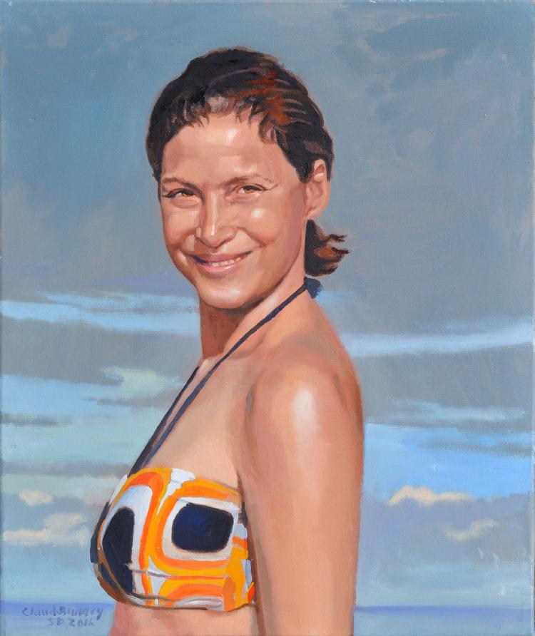 oil portrait by Claude Buckley- Elenita en la Playa, 24 x 30 in