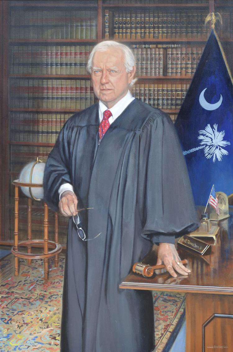 judicial oil portrait by Claude Buckley- Honorable Thomas G. Cooper, 54 x 66 in oil on canvas,  Kershaw County Courtroom, Camden, SC