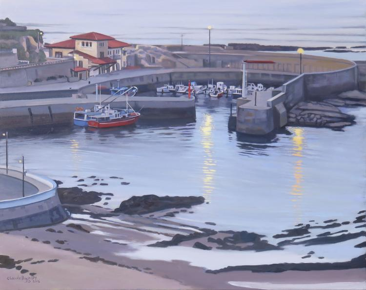 oil painting by Claude Buckley of the port of Comillas
