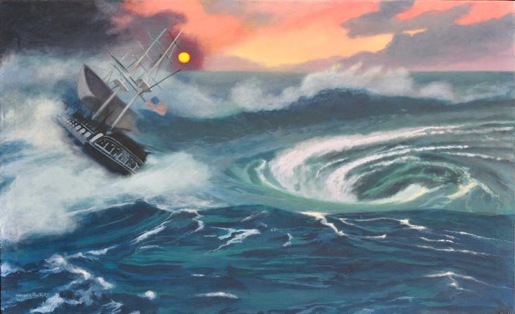 Image of a modern allegorical painting of the USS Constitution by Claude Buckley- The  Peril of the US Constitution, 30 x 40 in - 76 x 101 cm, oil on canvas 2013