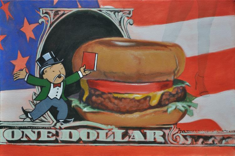 Neo pop painting by Claude Buckley depicting a cheesburger, an american flag and an oriental monopoly man holding a red book