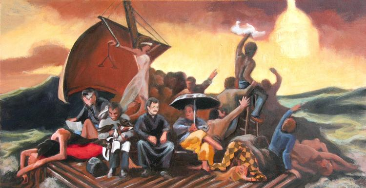 oil painting by Claude Buckley-Undocumented Americans, oil on canvas