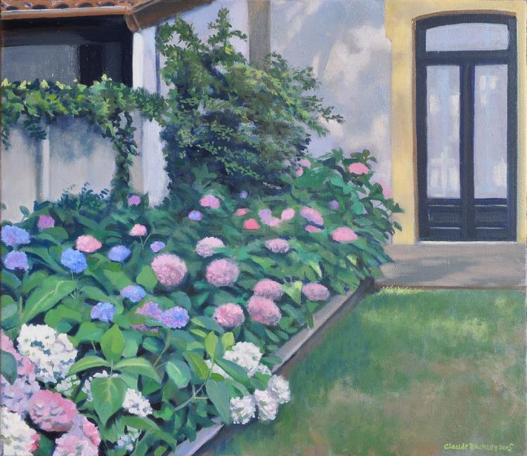 oil painting by Claude Buckley- Ortensias en el Jardin de Castroalbio, oil on canvas, private collection, Comillas, SP