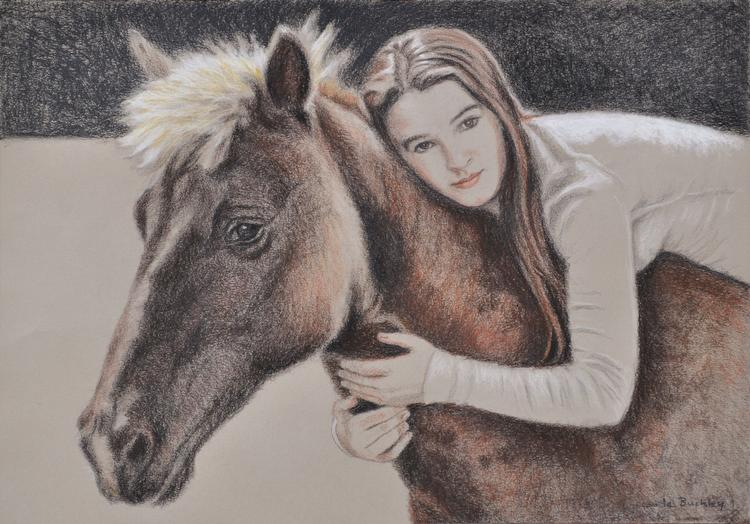 Serena conte pencil drawing on paper  by Claude Buckley, Claude Buckley- Best Friends, 50 x 40 oil on canvas, private collection