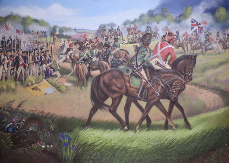 Claude Buckley- Tarleton's Quarter 10 x 8 ft, acrylic on canvas, 2013 Bath house, Private Collection, Lancaster, SC. This mural painting depicts the infamous Battle of Waxhaw