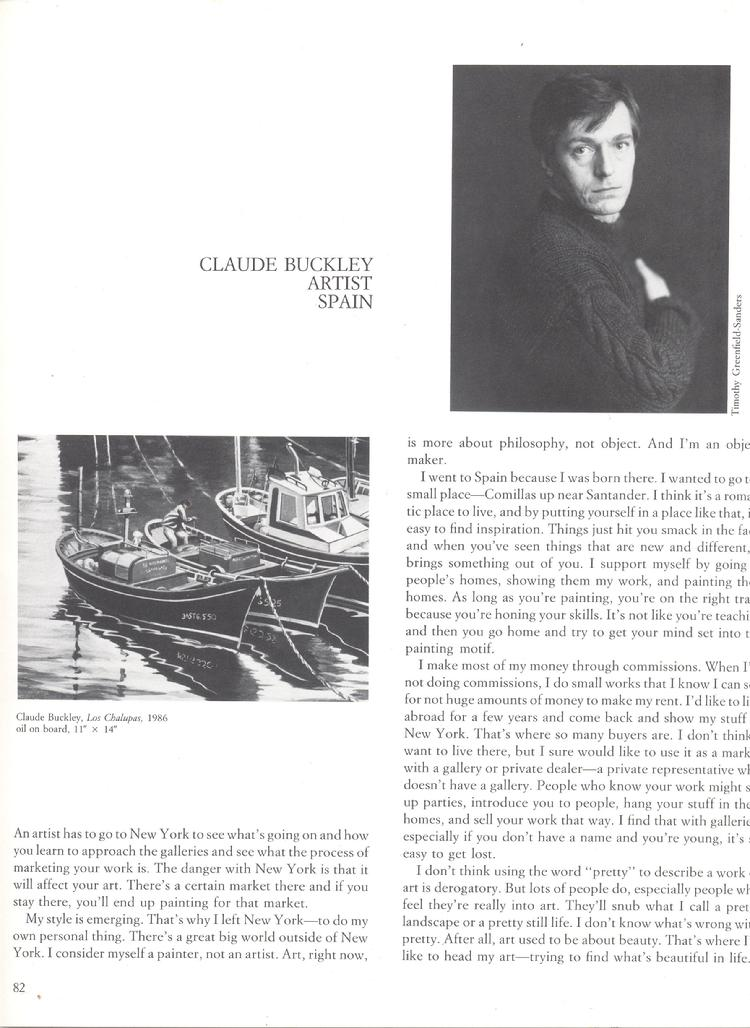 Arts Review magazine article on a young Claude buckley