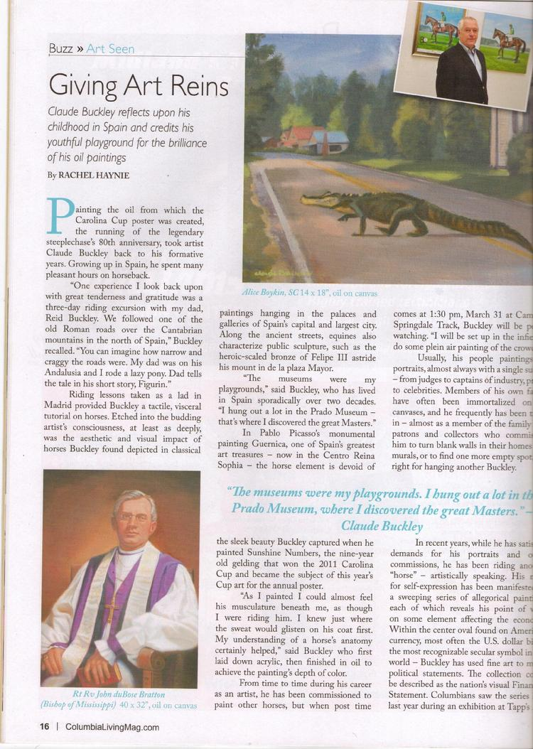 Columbia Living magazine article featuring Claude Buckley
