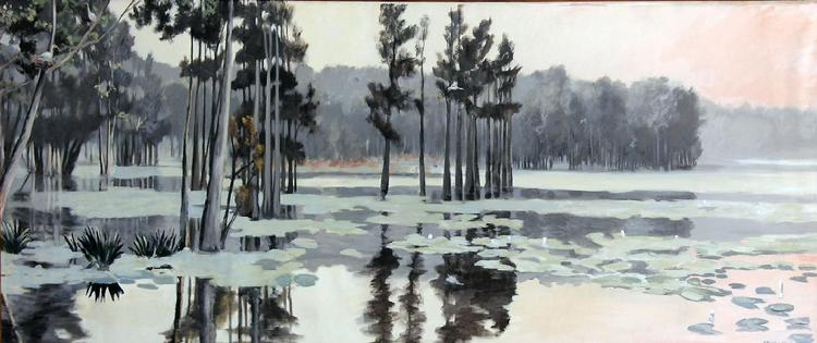 "Claude Buckley- Mural painting ""Boykin Millpond"", 60 x 96 inches acrylic on canvas"