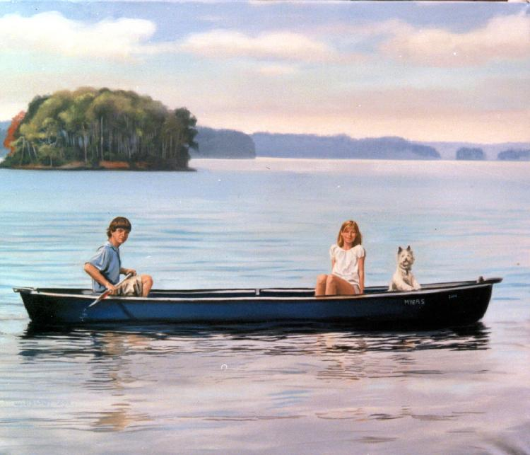 family oil portrait by Claude Bucklley- On The Tennessee River, Mayes kids, 50 x 66 in oil on canvas
