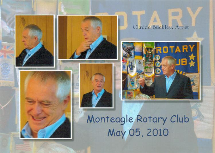 artist Claude Buckley addressing the Monteagle Rotary Claub